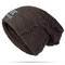 Mens Winter Plus Velvet Warm Knitted Hat Casual NC Letter Solid Skullies Beanie Hat - Coffee