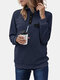 High Neck Button Long Sleeve Plus Size Sweatshirt With Pocket - Navy