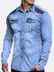 Mens Denim Suede Patchwork Contrast Color Chest Pocket Casual Stylish Jacket - #01