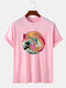 Mens 100% Cotton Funny Cat & Wave Pattern Japanese Style Short Sleeve T-Shirt - Pink