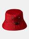 Unisex Cotton Camouflage Solid Climbing Outdoor Sunshade Adjustable Bucket Hat - Wine Red