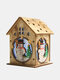 1Pc Christmas Wooden Christmas Lighted Wooden Cabin Creative Assembly Small House Decoration Luminous Colored Cabin - #02
