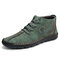 Men Hand Stitching Leather Non Slip Soft Sole Casual Ankle Boots - Green