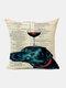 Animal Head Wine Glass Pattern Linen Cushion Cover Home Sofa Art Decor Throw Pillowcase - #03