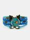 ヴィンテージマルチカラー美しいバタフライパターンプリントバタフライブレイドジェムストーンマルチレイヤーブレスレット - 青