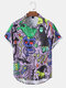 Mens Funny Ghost Print Halloween Button Up Short Sleeve Shirts - Purple