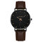 Sports Business Women Watch Large Three-Hand Smooth Dial Leather Band Calendar Quartz Watch - 01