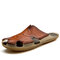 Men PU Splicing Large Size Casual Stitching Slippers - Red