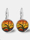 Vintage Colorful Life Tree Oil Painting Print Drop-shape Alloy Glass Sheet Earrings - #02