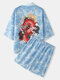 Mens Dragon Wave Print Open Front Kimono Japanese Style Two Pieces Outfits - Blue