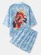 メンズドラゴンウェーブプリントオープンフロント着物和風ツーピース衣装 - 青