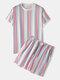 男性Colorfulストライプパジャマ半袖パジャマセットホームSoft居心地の良いラウンジウェア - ピンク