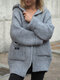 Solid Pocket Hooded Button Long Sleeve Loose Cardigan - Gray