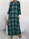 Vintage Plaid Print Long Sleeves O-neck Casual Dress For Women - Green