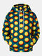 Mens 3D Round Hole Print Drawstring Casual Hoodie With Pocket - Yellow