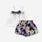 Girl's Flower Bowknot Sleeveless Vest+ Pants Casual Clothing Suit For 1-5Y - White