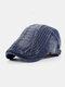 Men Cotton Embroidery Cap Outdoor Leisure Wild Forward Hat Flat Cap - Blue