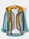 Mens Contrast Patchwork Plaid Cotton Double Pocket Long Sleeve Drawstring Hooded Shirts - Yellow