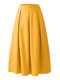 Casual High Waist Pleated Plus Size Long Skirt for Women - Yellow
