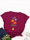 Cartoon Print O-neck Short Sleeve Casual T-Shirt For Women - Wine Red