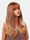 22 Inch Golden Brown Long Curly Hair Air Bangs Full Head Cover Wig Prom Daily Wig - 22 Inch