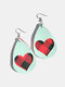 Vintage Drop-Shape Hollow Plaid Pattern Valentine's Day Heart PU Leather Earrings - #07