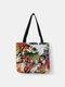 Frauen Leinwand Nette Cartoon Ölgemälde Katze Drucken Wasserdichte Einkaufstasche Umhängetasche Handtasche Tasche - #06