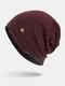 पुरुषों की शीतकालीन Plus मखमली प्लेड पैटर्न आउटडोर लंबी बुना हुआ गर्म बेनी टोपी - लाल शराब