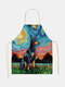 Cartoon Color Cat Pattern Cleaning Colorful Aprons Home Cooking Kitchen Apron Cook Wear Cotton Linen Adult Bibs - #11