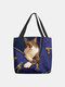 Women Felt Cat Print Handbag Shoulder Bag Tote - Blue