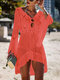 Women Hollow Knitted See Through Sun Protection Long Sleeve Cover Up - Red