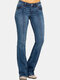 Solid Color Mid-waist Pockets Casual Jeans For Women - Navy