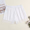 Plus Size Faux Silk Seamless Lace Trim Smooth Butt Lifter Mid Waisted Boyshorts - White