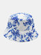 Unisex Cotton Overlay Plant Bird Print Double-sided Wearable All-match Sunshade Bucket Hat - White