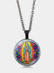 Vintage Virgin Mary Necklace Alloy Glass Printed Pendant Women Sweater Chain - Black