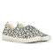 Women Animal Printing Hollow Breathable Slip On Casual Flat Shoes - Beige