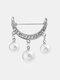 Elegant Geometry Hollow Rhinestone Pearl Tassel Women Brooch Anti Slip Sweater Cardigan Pins - Silver