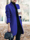 Solid Color Long Sleeve Stand Collar Casual Jacket For Women - Blue