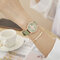 Fashion Cute Women Watches Rose Gold Case Leather Band Roman Numerals Bee Quartz Watches - Green