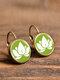 Vintage Glass Dangle Women Earrings Plant Flower Pattern Earrings Jewelry - #05