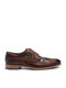 Men Broguo British Style Splicing Printed Lace Up Casual Formal Dress Shoes - Brown