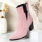 Plus Size Women Casual Solid Color Simple Pointed Toe Zipper Chunky Heel Chelsea Boots - Pink