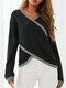 Striped Print Crossed-design V-neck Long Sleeve Casual Sweater - Black