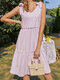 Solid Color Sleeveless Knotted Bowknot V-neck Fungus Casual Women Dress - Purple