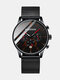5 Colors Alloy Stainless Steel Men Vintage Business Watch Decorated Pointer Calendar Quartz Watch - Red