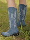Plus Size Women Retro Pointed Toe Embroidered Chunky Heel Cowboy Boots - Blue