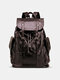 Men Retro PU Leather Large Capacity Travel Backpack - Brown