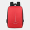 Men Large Capacity Reflective Waterproof USB Charging Earphone Hole Travel Backpack - Red