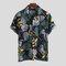 Rayon impresso floral do feriado havaiano dos homens gira para baixo camisas longas da luva curto do colar