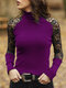Solid High Neck Lace See-through Sexy Ribbed Blouse For Women - Purple